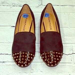 Rampage Black Gold Spike Loafers